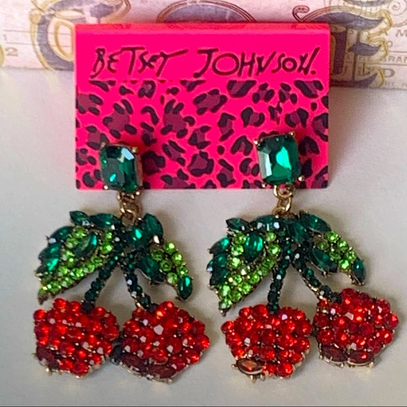 Betsey Johnson Style - Crystal Red Cherry Earrings